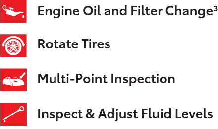 Engine Oil and Filter Change, Rotate Tires, Multi-Point Inspection, and Inspect & Adjust Fluid Levels